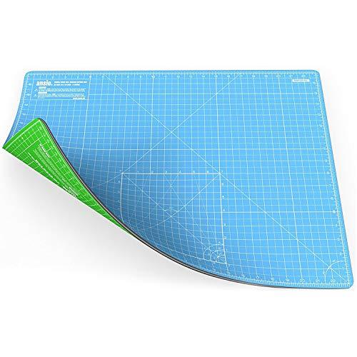 ANSIO Tappetino da taglio artigianale Autoguarigione A2 Doppia faccia 5 strati Quilting, Cucire, Scrapbooking e Tessuto - Imperiale/metrico 22,5 x 17 Pollici / 59 x 44 cm - Cielo blu / Verde lime