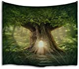 QIYI Tapestry Wall Hanging Nature Polyester Fabric Tapestries Jungle Tree Wall Blanket Art for Bedroom Dorm Living Room Home Decorations Green Large Blankets 229cm X 153cm - The Door of the Forest