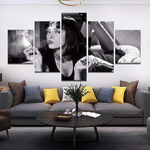 Poster Und Drucke Leinwand Malerei Moderne Wandkunst 5 Stück Pulp Fiction Film Mia Wallace Bild Leinwanddruck Wohnkultur-Mit Rahmen