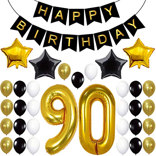 90th Birthday Decorations Party Supplies - Large Number 90 | Happy Birthday Banner | Black and Gold Balloons | 90th Birthday Party Decorations Kit | Great For 90 Year Old Party Supplies