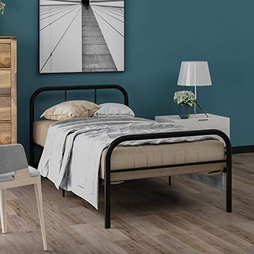 Blanketswarm Marco de cama de metal individual, marco de cama con plataforma de metal, muebles para adultos, niños, adolescentes (190 x 90 cm)