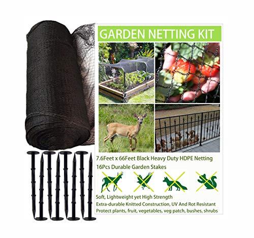 GEMDRUZY Black Bird Netting Heavy Duty for Garden, Woven Garden Netting Fine Mesh, HDPE Deer Netting for Plants, Plant Netting Bird Protection, Bird Netting for Fruit Vegetables Seed Trees