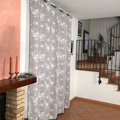 mauro Rideaux occultants avec œillets prêts à Poser pour Salon, Chambre, Cuisine Dimensions : L 200 x H 215 à 280 cm Lxh cm 200x260 Gris 1 Panneau