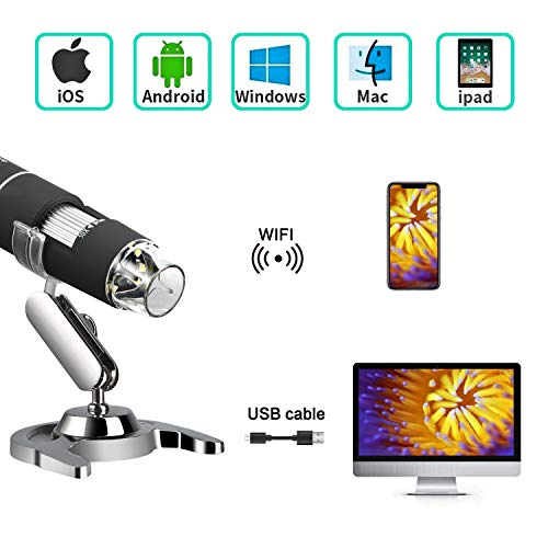 Koolertron Microscopio USB WiFi, 50 a 1000 aumentos, endoscopio, 2 MP 1080P HD Mini cámara, 8 LED USB 2.0 Digital, microscopio con Soporte de Metal para iPhone iOS Android Phone iPad Windows Mac