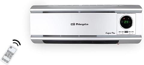 Orbegozo SP 6500 Calefactor de pared, 2000 W, mando a distancia, programación diaria y semanal, protección contra sobrecalentamiento, panel LED, Plástico, cerámico, Plateado