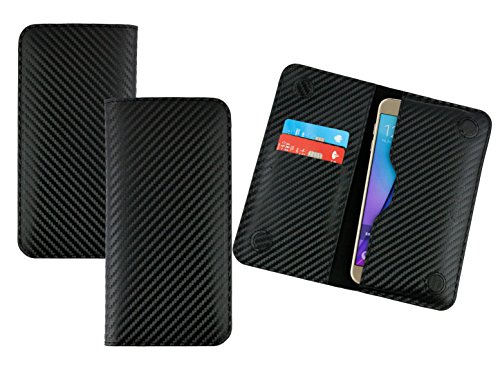 emartbuy Schwarz Premium PU Leder Carbon Fibre Finish Magnetisch Schlank Brieftasche Tasche Sleeve Halter (Size LM4) Kompatibel mit Smartphones Aufgeführt Unten