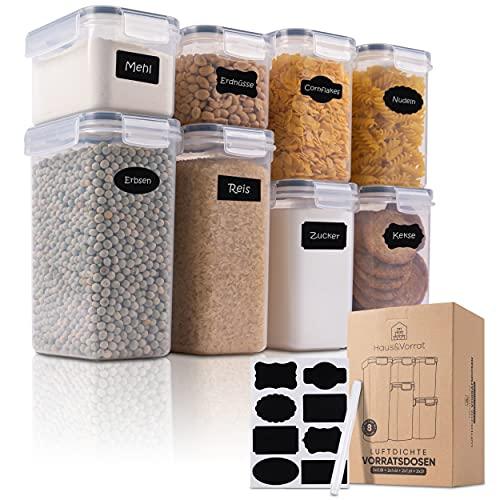 Haus&Vorrat Vorratsdosen 8er Set Lebensmittel luftdicht und mottensicher Aufbewahrung Frischhaltedosen mit Deckel Boxen für Müsli Nudeln Mehl Zucker Cornflakes