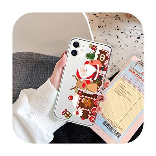 Feliz caballo de Navidad estilo Santa Claus teléfono cubierta para iPhone 12 11 Pro Max X XR XS Max 7 8 7Plus claro suave silicona TPU caso Trasero Caso-A6-ForiPhone 7 Plus