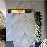Calentador de patio al aire libre montado en la pared, calentador eléctrico de techo con control remoto, lámpara de calor infrarroja portátil cálida instantánea ultra silenciosa ( Size : 110V 1500W )