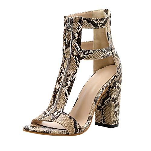 Damenschuhe Sandaletten High Heel Schlange Sandal/Dorical Damen Reißverschlusssandalen 10 cm Blockabsatz Sexy Sandalen High Heels Schuhe,Hohl Pumps für Freizeit Sommer Schuhe(Braun,35 EU)
