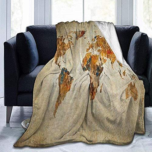 XZHYMJ Blanket World Map in Orange Throw Blanket Ultra Soft Velvet Blanket Bed Blanket Quilt Durable Blanket Sofa Blanket Carpet