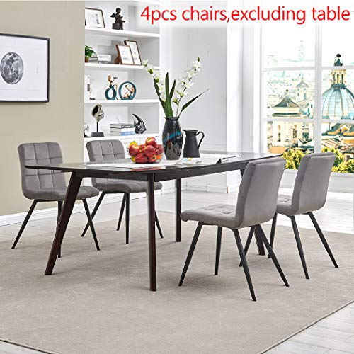 Dining Chair Accent Chair Set of 4 for Living Room, Side Chair Guest Chair Velvet Fabric Ergonomic Padded Seat with Metal Legs Indoor Coffee Shop (Grey)