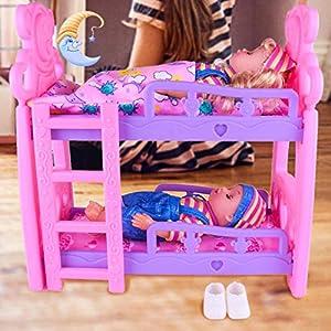 bouncevi Literas para bebés Cuna doble Estilo europeo Muebles de cama tipo loft Doll Play House Toy para niños ingenious first-rate