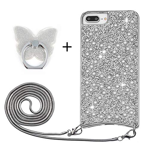 8 Plus Telefoonhoes voor iPhone 6 Plus/7 Plus, doorzichtige hoes met riem, buigzame achterkant, telefoonketting, kodel om te hangen, case silicone gel met band voor smartphone halsketting, ringhouder, glitter
