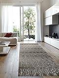 Benuta Alfombra de Pasillo Sloan, de Lana, de algodón, Negro/Blanco, 80 x 300 x 2 cm