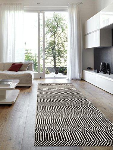 Benuta Teppich Läufer Sloan, Wolle, Baumwolle, Schwarz/Weiß, 80 x 300.0 x 2 cm
