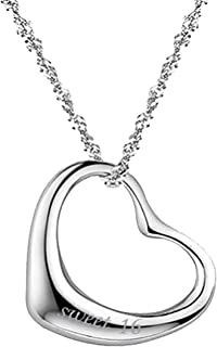 Sterling Silver Double Heart Crystal Necklace Pendant Quote