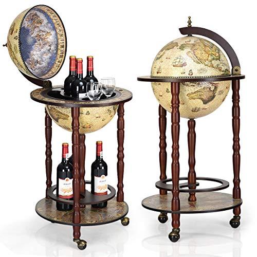 DREAMADE Globus Bar Barwagen, Minibar Globus Hausbar, Servierwagen mit antikem Design, Weinregal auf Rollen, Tischbar Cocktailbar Barschrank Globus (Beige)