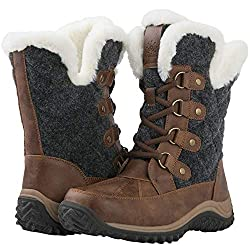 small GLOBALWIN Brown / Gray 1929 Women's Lace-up Winter Snow Boots 7.5m