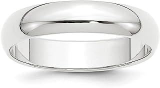 Platinum Wedding Band Ring Standard Half Round Solid Polished 5 mm 5mm Half-Round Featherweight Band