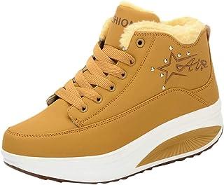 Qootent Women Casual Plus Velvet Short Boots Wedges Winter Thick Platform Shoes