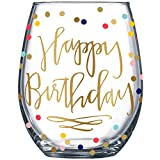 14K Gold Leaf Happy Birthday Colored Party Dots 19oz Stemless Wine Glass by Fine Occasion