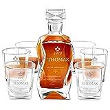 Murrano Whiskey Karaffe + 6er Whiskygläser Set mit Gravur - 700ml Whisky Dekanter - Geschenk zum Geburtstag für Männer - Guter Jahrgang