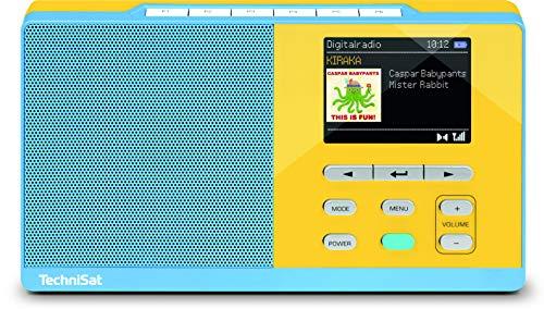 TechniSat DIGITRADIO KIRA 1 - tragbares DAB-Radio (DAB+, UKW, Radiowecker, Farbdisplay, Favoritenspeicher, Kopfhöreranschluss, sechs frei belegbare Direktwahltasten) hellblau/gelb