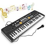 WOSTOO Kinder Keyboard 49 Tasten Elektrisches Keyboard Tragbare Musik Klaviertastatur Wiederaufladbare Digital Piano Elektronische Musikinstrument Mikrofon für Baby Kinder