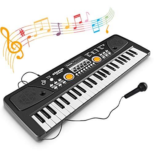 WOSTOO Tastiera Elettronica, Chargable Tastiera Pianoforte 49 Tasti Pianoforte Multifunzione, Pianoforte Musicale Bambino Musicale Tastiera Elettronica con Microfono per Bambini Regalo