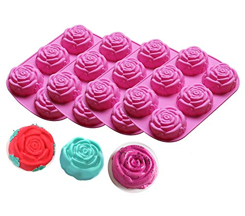 Cedilis 4 Pack Silicone Mold Rose DIY Soap Mold for Handmade Soap, Cake, Jelly, Pudding, Chocolate, Muffine, 6 Cavity