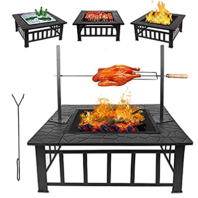 3 in 1 Fire Pit Table 81cm/32in Garden Log Wood Brazier Patio Outdoor Heater with Cooking/Wood Grill & Poker & Mesh Cover, Large Square Steel Charcoal Burner Firepit Bowls for BBQ Camping Heating from Bilisder