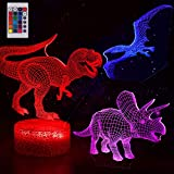 3D Night Light - 3D Dinosaur Illusion LED Night Light with 3 Different Pattern and 16 Color Change Lamp - Remote and Touch Control for Baby Boys & Girls Gift Toys