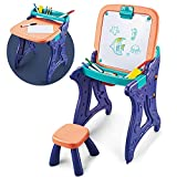 Kids Easel & Kids Multi Activity Table Chairs Set,2 in 1 Art Easel