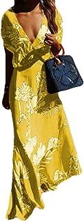BU2H Las Mujeres mas del tamaño de Cuello en V Manga Corta algodón Lino Swing Imprimir Vestidos Largos