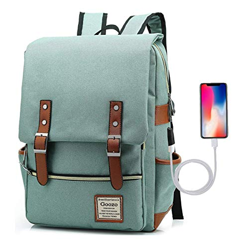 Goozo Laptop Backpack with USB Charging Port for Women Men to 15.6 Inch Notebook