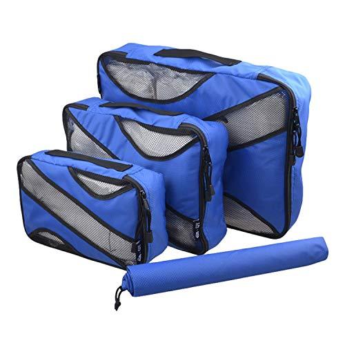 Desconocido JIER 4 Set Cubos de Embalaje, Organizadores para Maletas, Travel Packing Cubes, Equipaje de Viaje Organizadores, con Bolsa de Zapatos, Bolsa de Cosméticos (Azul Marino)
