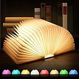 Lmpara de lectura LED, 8 modos de color, plegable, de madera, recargable por USB, lmpara de mesa, lmpara de noche, lmpara decorativa, plegable 360 (Medium 2)