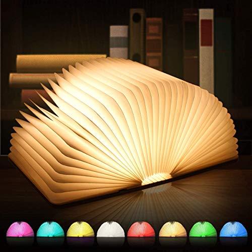 Große LED Buch lampe, 8 Farbmodi Buchlampe, Hölzerne faltende Buch-Lampe, USB wiederaufladbar Tischleuchte, Nachttischlampe, dekorative Lampen, 360°Faltbar - Ideal für Geschenk