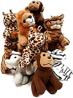 Playscene Suede Jungle / Zoo Animals, Assorted Suede Plush Jungle Animals (12 Piece Set)