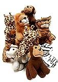 Playscene Suede Jungle / Zoo Animals, Assorted Suede Plush Jungle Animals (12 Piece Set)
