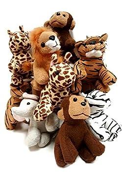 Playscene Suede Jungle / Zoo Animals Assorted Suede Plush Jungle Animals  12 Piece Set