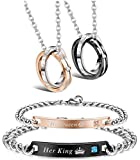 LOYALLOOK Couple Pendant Necklace Gift for Men Women His & Hers Matching Set Jewelry Stainless Steel Couples Distance Bracelets Chain Lover Gift, 4PCS