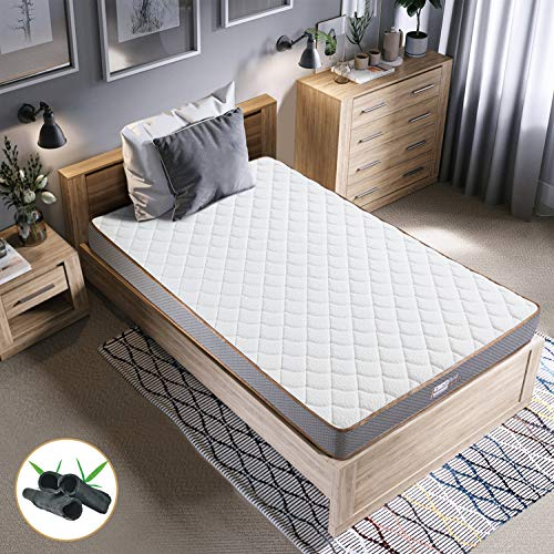 BedStory Colchon Viscoelastico Bambú 90x190CM Colchones para Cama Hotel Viscoelastica Firmeza Media Anti-ácaros e Hipoalergénicos Nuevo