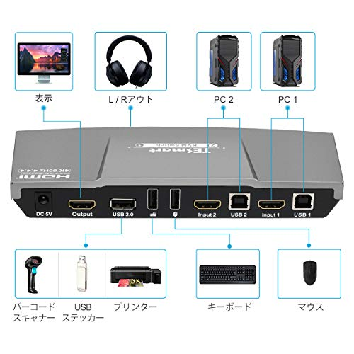 『KVM スイッチ 2ポート KVMケーブル 2入力1出力 pc 切り替え機 4K60Hz パソコン切替器 自動切り替え(PC 2台用)usb2.0 高速 HDMI Switch HDCP2.2 HDR10対応 IRリモコン付 音声分離対応 キーボード マウス用パソコン TESmart(2 Port 黒)』の6枚目の画像