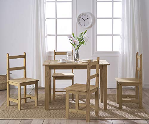 Solid Pine Wood Dining Table and 4 High Back Chairs Set Modern Mexican Style for Home Kitchen Dining Room Furniture