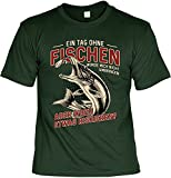 Angler Sprüche T-Shirt - Bekleidung Angler - Geschenk-Shirt Angler-Motiv : EIN Tag ohne Fischen - Anglershirt Angelsport Hobby-Angeln Gr: XL