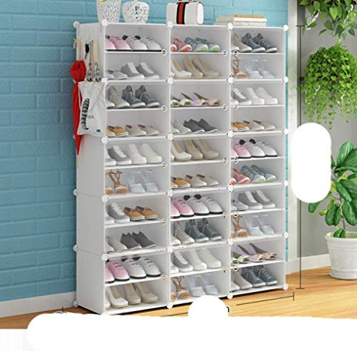 Zapatero de 6 a 12 niveles, cubo de almacenamiento, modular, gran capacidad, 24 a 96 pares, torre de zapatos a prueba de polvo, color blanco, 3 x 10 niveles, Estados Unidos