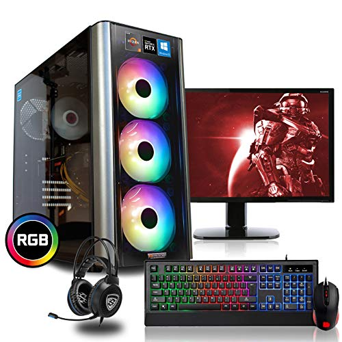 dcl24.de [11685] Gaming Komplett PC Set RGB Level 20 AMD Ryzen 7-3800X 8x3.9 GHz - 480GB SSD & 2TB HDD, 32GB DDR4, RTX2070 Super 8GB, mit 24 Zoll TFT, Maus, Tastatur, Headset, WLAN, Windows 10 Pro
