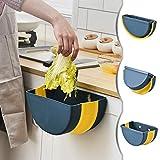 JEEZAO Cubos de Basura Plegable Bote de Basura Colgante Basurero Plegable Basura Extraible para la Cocina, Dormitorio y Coche (Azul)